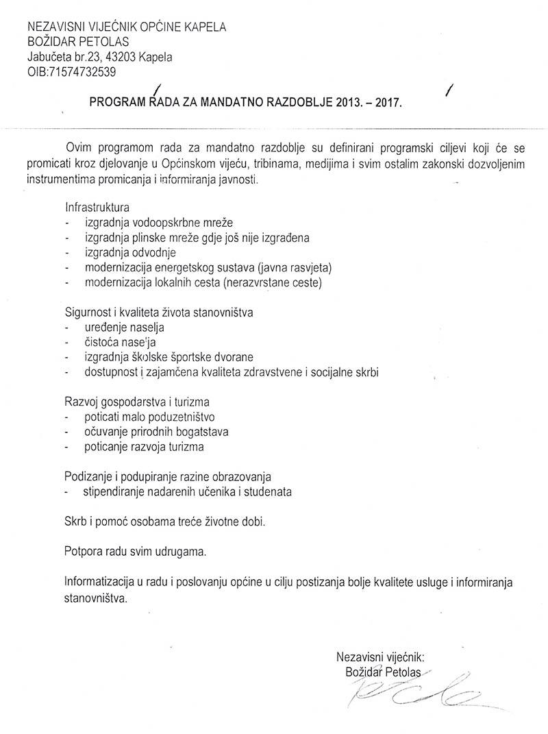 Petolas, program rada 2013.-2017.