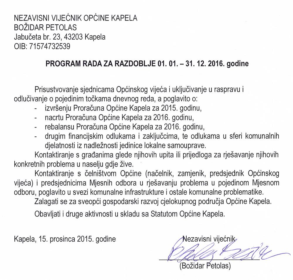 Petolas, program za 2016.g.